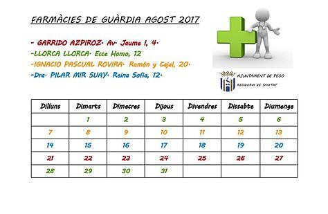 Farmacies de guardia agost 2017